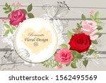 the rose elegant card. doodle.... | Shutterstock .eps vector #1562495569