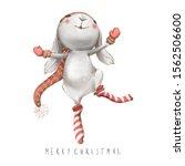 Cute Watercolor Bunny Christma...