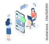 customer support isometric... | Shutterstock .eps vector #1562509390