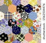 patchwork pattern flowers... | Shutterstock . vector #1562534476