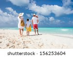 back view of a happy family on... | Shutterstock . vector #156253604