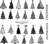 set of christmas trees isolated ... | Shutterstock . vector #156254468