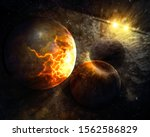 Small photo of Global planetary catasrtophe concept. Elements of this image furnished by NASA.