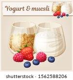 yogurt and muesli vector icon... | Shutterstock .eps vector #1562588206