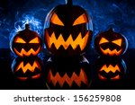 group pumpkins for halloween on ... | Shutterstock . vector #156259808