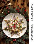 Stock photo christmas herrings fillets with cream sauce with apple pickled cucumbers red onion and spices 1562611249