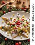 Stock photo christmas herrings fillets with cream sauce with apple pickled cucumbers red onion and spices 1562611390