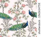 exotic chinoiserie wallpaper.... | Shutterstock .eps vector #1562614753