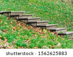 Wooden Staircase On A Hill In...