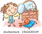 happy cartoon girl combing her... | Shutterstock .eps vector #1562630149