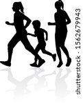 running  family   black... | Shutterstock . vector #1562679943