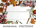 christmas flat lay background... | Shutterstock . vector #1562703163