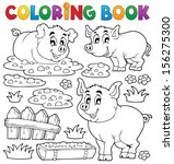 coloring book pig theme 1  ... | Shutterstock .eps vector #156275300