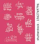 set of valentine themed hand...   Shutterstock .eps vector #1562769796