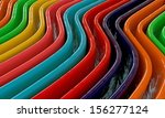 colored waves with glossy material  - stock photo