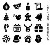 christmas icon set in black | Shutterstock .eps vector #156277454