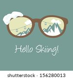 hello skiing poster | Shutterstock .eps vector #156280013