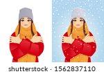 beautiful woman in winter... | Shutterstock .eps vector #1562837110