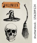 hand drawn halloween shapes set ... | Shutterstock .eps vector #156289124