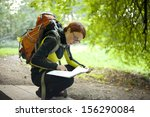 woman hiker with backpack... | Shutterstock . vector #156290084