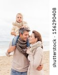 happy walking family enjoying... | Shutterstock . vector #156290408