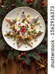Stock photo christmas herrings fillets with cream sauce with apple pickled cucumbers red onion and spices 1562916373