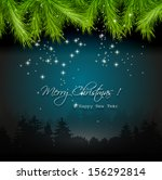 christmas flyer with tree... | Shutterstock .eps vector #156292814