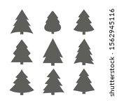 christmas trees set  black... | Shutterstock .eps vector #1562945116