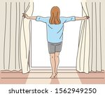 back view of a girl opening a... | Shutterstock .eps vector #1562949250