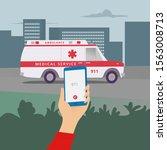 emergency call  911  police ...   Shutterstock .eps vector #1563008713