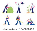 people care of plants  cleaning ... | Shutterstock .eps vector #1563050956