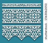 set of vector lace ribbons ... | Shutterstock .eps vector #1563062053