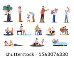 father spend time with children ... | Shutterstock .eps vector #1563076330