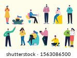 connection background with... | Shutterstock .eps vector #1563086500