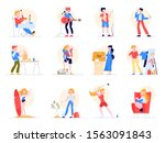 hobby set. collection of people ... | Shutterstock .eps vector #1563091843