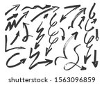 set of hand drawn grunge arrows.... | Shutterstock .eps vector #1563096859