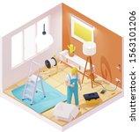 vector isometric electrician...   Shutterstock .eps vector #1563101206