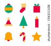 colorful christmas icons | Shutterstock .eps vector #156311108