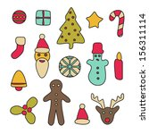 colorful christmas icons | Shutterstock .eps vector #156311114