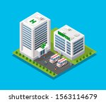 hospital isometric 3d building... | Shutterstock . vector #1563114679