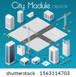 isometric set module city with... | Shutterstock . vector #1563114703