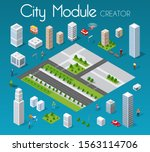 isometric set module city with... | Shutterstock . vector #1563114706