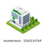 hospital isometric building... | Shutterstock . vector #1563114769