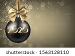 2020 new year black ball with... | Shutterstock .eps vector #1563128110