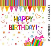 happy birthday card.... | Shutterstock . vector #156313166
