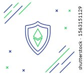 blue and green line shield... | Shutterstock .eps vector #1563151129