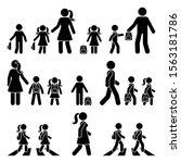 Stick Figure Walking Kids With...