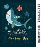 smiling shark animal vector...   Shutterstock .eps vector #1563187513