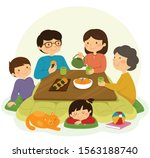 japanese family sitting around...   Shutterstock . vector #1563188740