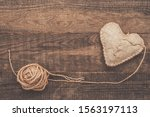 Darned Heart From Linen Fabric...